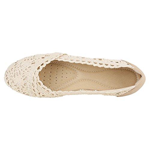 Stoffa Con Da Pizzo Basse Di Scarpe Crochet Flandell® Effetto Donna Beige Ballerine Metallico pn6T0qggYw