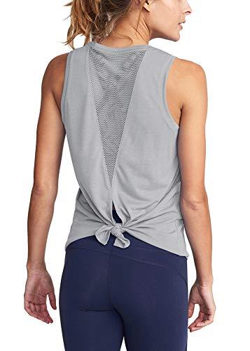 Bestisun Tie Back Mesh Workout Clothes Fashion T-Shirts Activewear Lightweight Mesh Workout Split Tank Top Running Sport Shirt Gray S (Boxing Womens Light T-shirt)