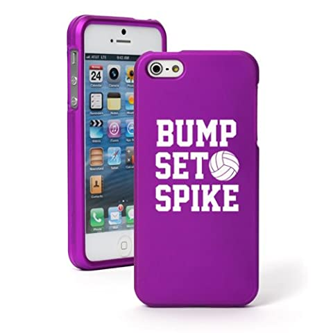 Apple iPhone 4 4s Snap On 2 Piece Rubber Hard Case Cover Bump Set Spike Volleyball (Purple) (Rubber Spike Phone Case)