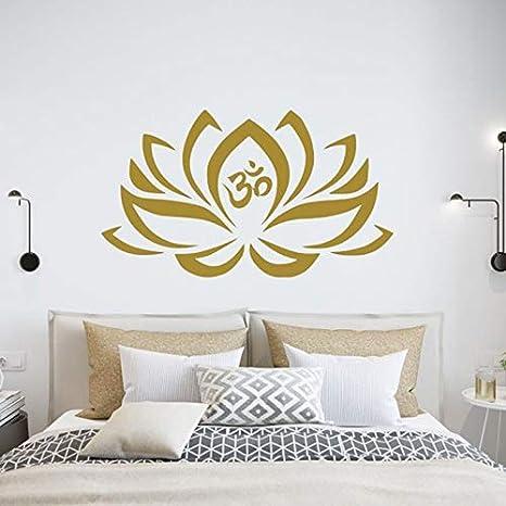Tatuajes de Pared de Flor de Loto para Dormitorio Mehndi Impermeable Etiqueta de Vinilo Namaste calcomanía Yoga Estudio decoración Boho Bohemio 126x73cm