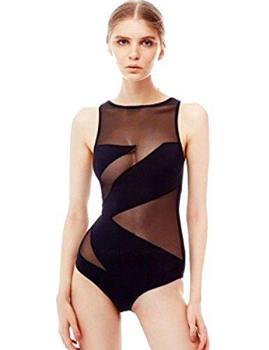 ALICE-X&S Women's One Piece Mesh Patchwork Bodysuit Bathing Suit Black,Size L