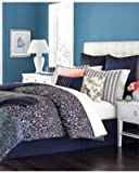 Martha Stewart Collection Cloister 10-Pc. King Comforter Set Navy Floral