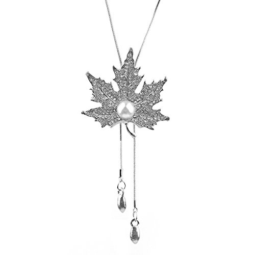 Gexo Weekly Promotion 20% Long Chain Maple leaves Pendant Tassel Sweater Necklace Big Simulated Pearl Rhinestone-White (Simulated Pearl Tassel Necklace)