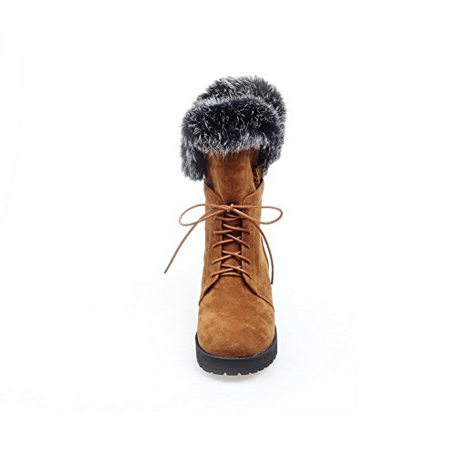 A&N Ladies Bandage Chunky Heels Fur Collar Frosted Boots Yellow j0xsAjb