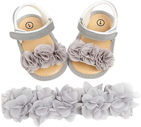 Sakuranbo 아기 신발 아기 샌들 걸즈 키즈 샌들 + 머리 띠 2 점 세트 여 아 샌들 복장 신발 꽃 공주 신발 키즈 신발 피아노 발표회 사이틀 결혼식 출산 축 하-슬립 여름 해변 / Sakuranbo Baby Shoes Baby Sandals Girls Kids Sandals + Headband 2 ...