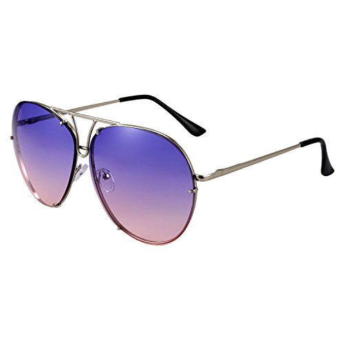 SODIAL de gradiente de femenino multicolor sol de UV400 amp; Azul de lente lujo metal rosado gran de mujer Marron masculino marco tamano de sol Gafas rosado Gafas rZtPq5Wxwr