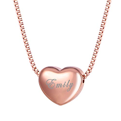 U7 I Love You to The Moon and Back Jewelry 18K Gold/Platinum Plated Delicate Italian Gold Plated Box Chain Heart Pendant Necklace Grandma's Gift (A. Rose Gold Heart Charm Personalized)