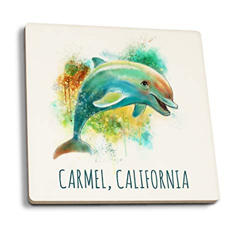 Lantern Press Carmel, California - Dolphin - Watercolor (Set of 4 Ceramic Coasters - Cork-Backed, Absorbent)