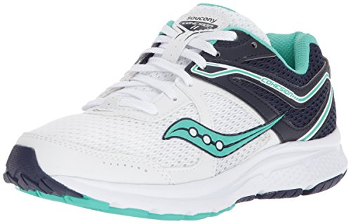 (Saucony Women's Cohesion 11 Running Shoe White/Teal 10 Wide US)