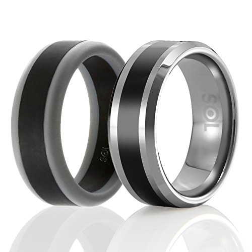 SOL Twins - Set of 2 - 1 Tungsten Wedding Band and 1 Silicone Rubber Wedding Ring For Men, Size 11