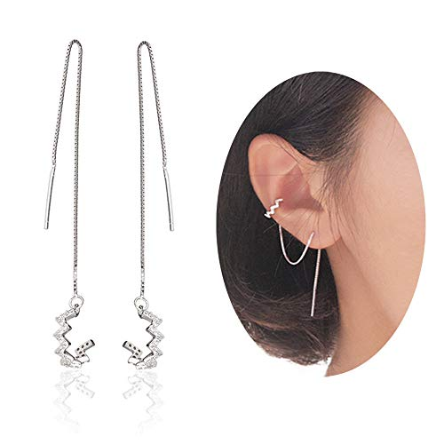 925 Sterling Silver Wave Cuff Chain Earrings Wrap Tassel Earrings for Women Perfect
