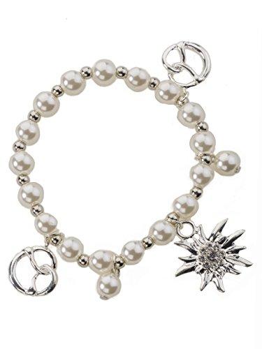 Charm Armband Edelweiss und Brezel - flexible und elegante Trachten Perlenkette mit Charm Anhänger - Armkette für Dirndl und Lederhose (Weiss/Beige)