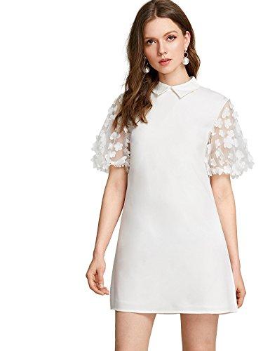 Verdusa Women's Flower Applique Contrast Mesh Sleeve Shift Dress White S (Shift White Dress Keyhole)
