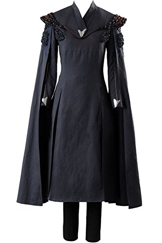 Cosplaysky Game of Thrones Costume Season 7 Daenerys Targaryen Dress Cape Large Black (Name Of Three Dragons In Game Of Thrones)