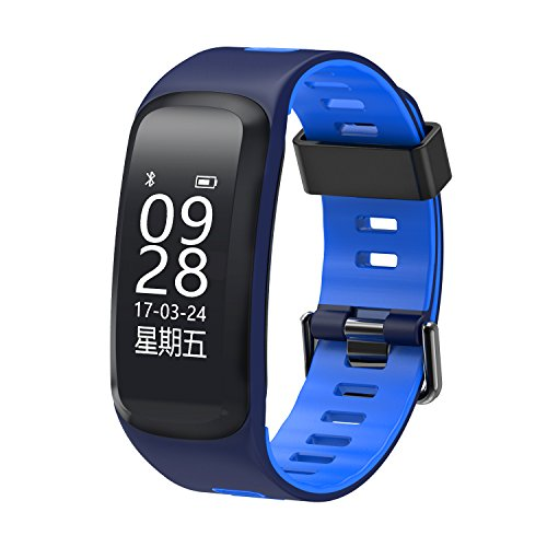 Price comparison product image Fitness Tracker,  F4 Smart Watch Bluetooth 4.0 Heart Rate Monitor,  Watch Step Walking Sleep Counter Wireless Smart Wristband Pedometer,  Waterproof Sports Bracelet for IOS Android System - Blue