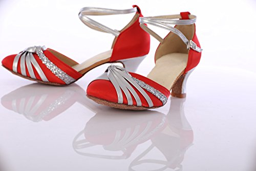 Bottom Friendship Latin heeled Red Height With Modern High Women's Soft Square Adult Shoes 7cm Shangyi Dance 0YqFddP