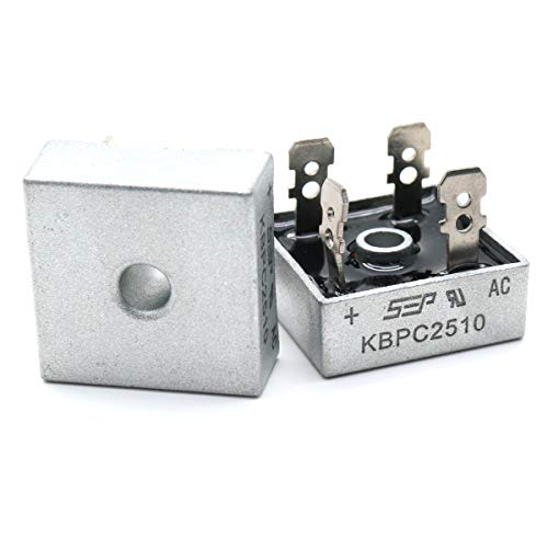 Yootop 2Pcs KBPC2510 25A 1000V Bridge Rectifier AC to DC Full Wave Single Phase Metal Housing Electronic Diode