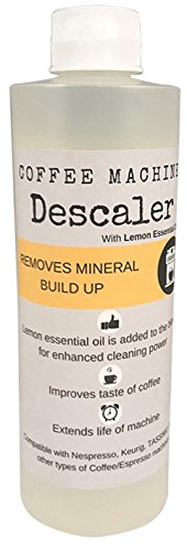 Descaler (2 Pack/4 Uses)   USDA Organic Lemon Essential Oil Added   Universal Descaling Solution for Kuerig, Delonghi, Nespresso and All Single Cup, Slow Drip, and Espresso Machines
