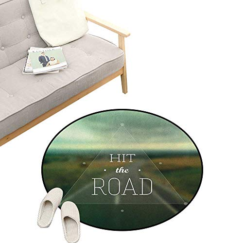Highway Triangle (Adventure Baby Room Decor Round Carpets ,Hit The Road Quote Inside a Transparent Triangle with Blurred Highway Background, Print Custom Floor mats 39