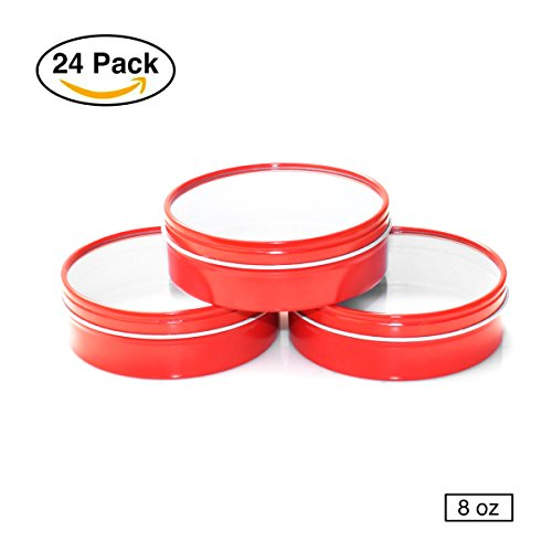 Mimi Pack 8oz Shallow Round Tin Can Clear Window Top Lid Steel Containers For Favors, Spices, Balms, Gels, Candles, Gifts, Storage 24 Pack (Large, - Red Candle Round