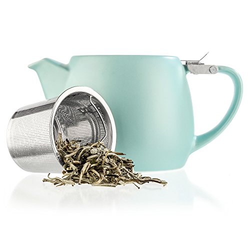 Tealyra - Pluto Porcelain Small Teapot Turquoise - 18.2-ounce (1-2 cups) - Stainless Steel Lid and Extra-Fine Infuser To Brew Loose Leaf Tea - Ceramic Tea Brewer - 540ml