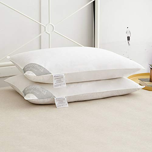 Pair of Luxury Goose Feather and Down Pillows, 100% Cotton Shell,...