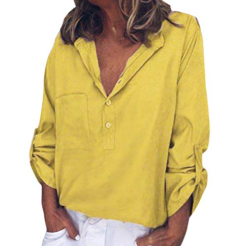 ANJUNIE Women Solid Blouse with Front Pocket Long Sleeve Button Tops Roll Up Sleeve Shirts(Yellow,XL) (Difference Between Relaxed Fit And Regular Fit Jeans)