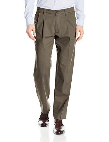 Dockers Men's Classic Fit Easy Khaki Pants - Pleated D3, Dark Pebble (Stretch), 34 32 ()
