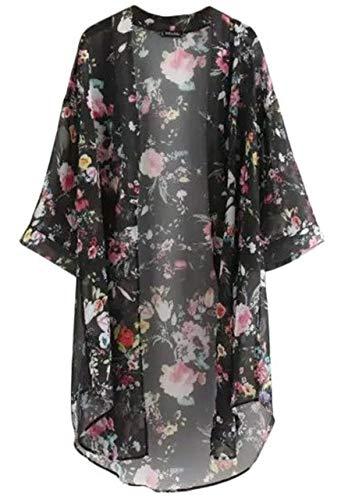 (아나토레) Anotre 여성 꽃 무늬 쉬폰 총 레이스 7 부 소매 롱 가디건 블랙/화이트(ML XL XXL)