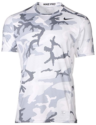 NIKE Mens Pro Hypercool Camo-Print Fitted Compression Shirt 848884-010 white w1275