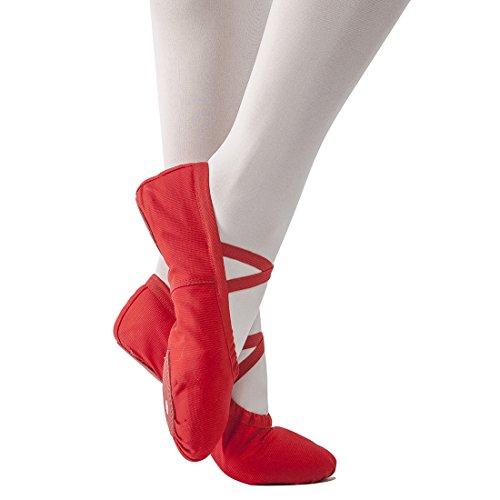STELLE-GirlsWomens-Canvas-Ballet-Slipper-Dance-Shoes-Ultra-Soft-Ballet-Flats-Yoga-ShoesRed-10M-Toddler