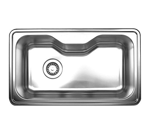 Whitehaus Collection Noahs Collection Brushed Stainless Steel single bowl drop-in sink-Brushed Stainless Steel-WHNDA3016 , Bathroom plumbing fixtures & ()