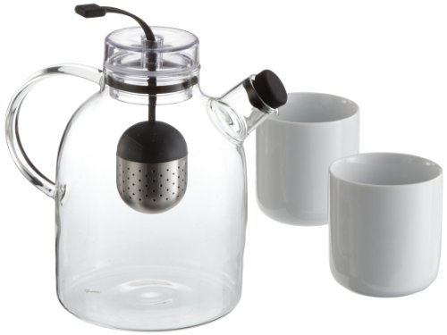 MENU Kettle Teapot Glass with Tea and 2 Thermo Cups