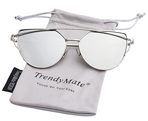 TrendyMate-Womens Street Fashion Metal Twin Beam Flat Mirror Lens Cat Eye Sunglasses … (Silver / Silver, - Sunglass Lens Manufacturer