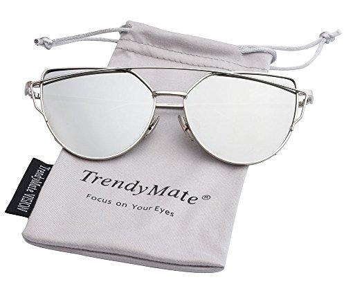 TrendyMate-Womens Street Fashion Metal Twin Beam Flat Mirror Lens Cat Eye Sunglasses … (Silver / Silver, - Lense Mirror