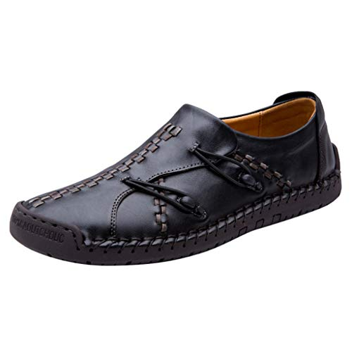 Respctful✿Mens Penny Leather Loafers Casual Loafers Driving Lace Up Shoes Oxfords Comfortable Slip On Shoes Breathable Black