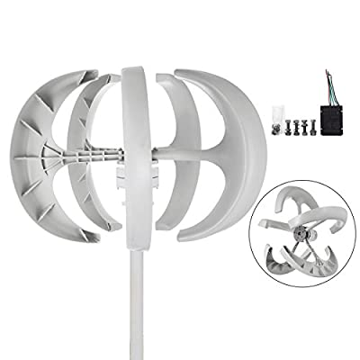 Happybuy Wind Turbine 400W DC 24V Wind Turbine Generator Kit 5 Blades Vertical Wind Power Turbine Generato White Lantern Style With Charge Controller for Power Supplementation