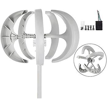 Happybuy Wind Turbine 400W DC 24V Wind Turbine Generator Kit 5 Blades Vertical Wind Power Turbine Generato White Lantern Style With Charge Controller for Power Supplementation (400W 24V)