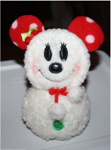 Amazon Minnie Mouse White Fluffy Snowman Plush With Leather