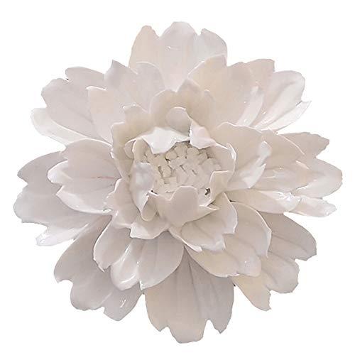 - ALYCASO Handmade Decorative Ceramic Flowers 3D Wall Decor Hanging Room Decoration Art (XXL- 7 in, Peony White)