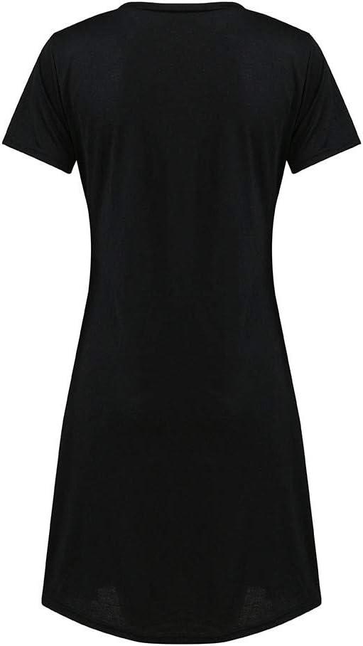Finebo Femmes Chemise de Nuit /à Manches Courtes Col Rond D/écontract/ée Bande Dessin/ée Imprim/é d/ét/é Doux Robe de Chambre