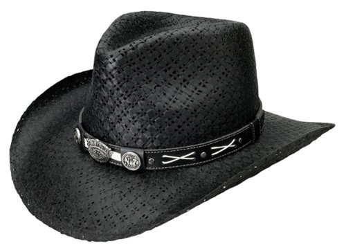 Jack Daniels Cowboy Hats - Jack Daniels Men's Daniel's Soft Toyo Straw Cowboy Hat Black Medium
