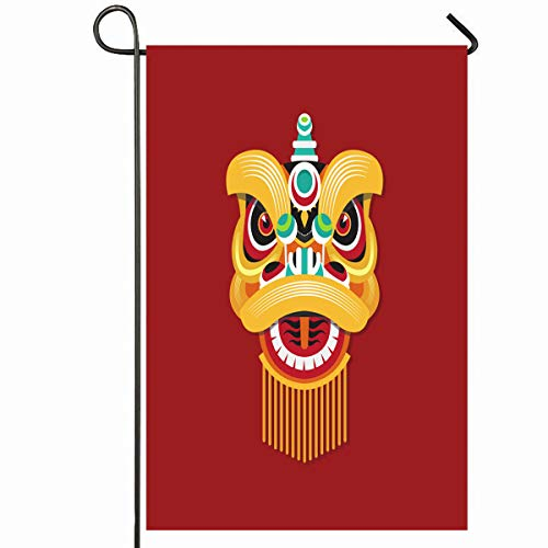 Ahawoso Outdoor Garden Flag 12x18 Inches Festival New Year Lion Dance Head Mouth Holidays...