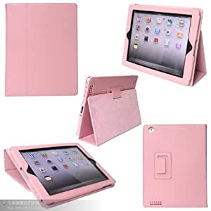 Inshang Upgrade Version Super Slim Leather Look Case for Ipad 4, Ipad 3, Ipad 2 with Sturdy Photo Frame Style Stand, Super Magnet to Maintain the Better Intelligent Auto Sleep Wake Function (s2zhe - pink)