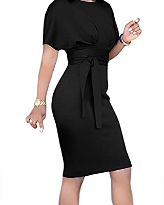 Geckatte Womens Bodycon Business Pencil Dresses Summer Work Party Knee Length Dress with Belt