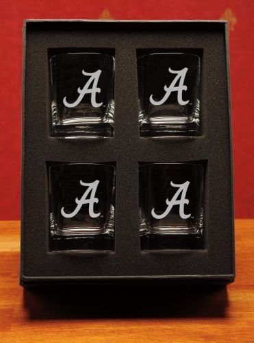 NCAA - Alabama Crimson Tide ''A'' 14 oz Deep Etched Double Old Fashion Glasses Gift Set of 4 by CC Glass