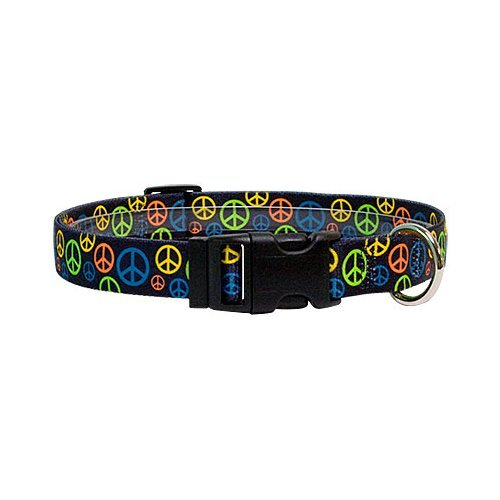 S Peace Signs Dog Collar Size Small 10  to 14  Long Made in The USA