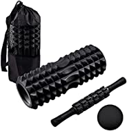 4 in 1 Foam Roller Set, Foam Rollers with Muscle Roller Stick and Massage Balls, for Deep Tissue Massage, Pain
