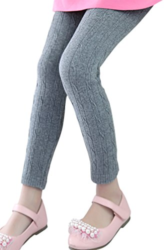EachWell Kids Girls Fall Winter Cotton Stretch Cable Knit Leggings Pants Gray(US 9-11T,Tag 150) (Tights Knit Footless)