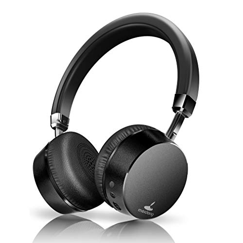 Active Noise Cancelling Headphones, Meidong E6 Metal Bluetooth Headphonones with Microphone Wireless Stereo Headphones On-Ear, Ergonomic Design for Travel Work TV Computer